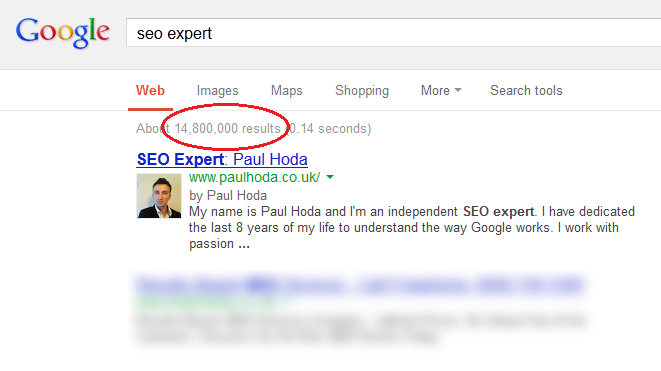 How to find the SEO competition or the number of results in Google.